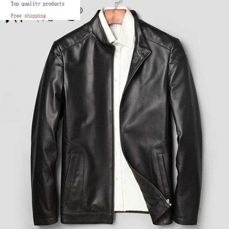 Men's Leather Jacket Spring Autumn Genuine Sheepskin Leather Jacket Men Casual Leather Coats And Jackets 71J7865 KJ2409
