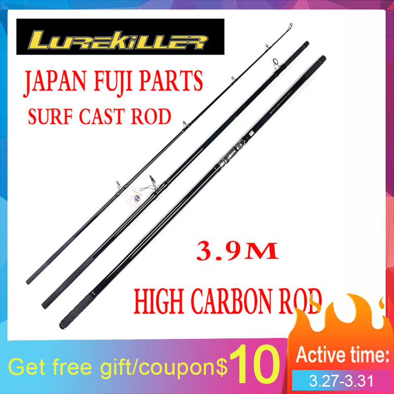 Lurekiller New Arrival Japan Fuji Parts 3.90M Powerful Carbon Surfcasting Rod 200-400g 30kgs
