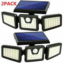 Led-Wall-Lights Motion-Sensor Solar Street-Security Outdoor Waterproof 74 1pc/2pcs