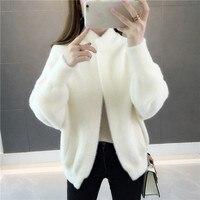high quality 2019 Faux Mink Cashmere Long Coat Lady Fashion Real Mink Cashmere Nature Fur Jacket Wholesale Sweater