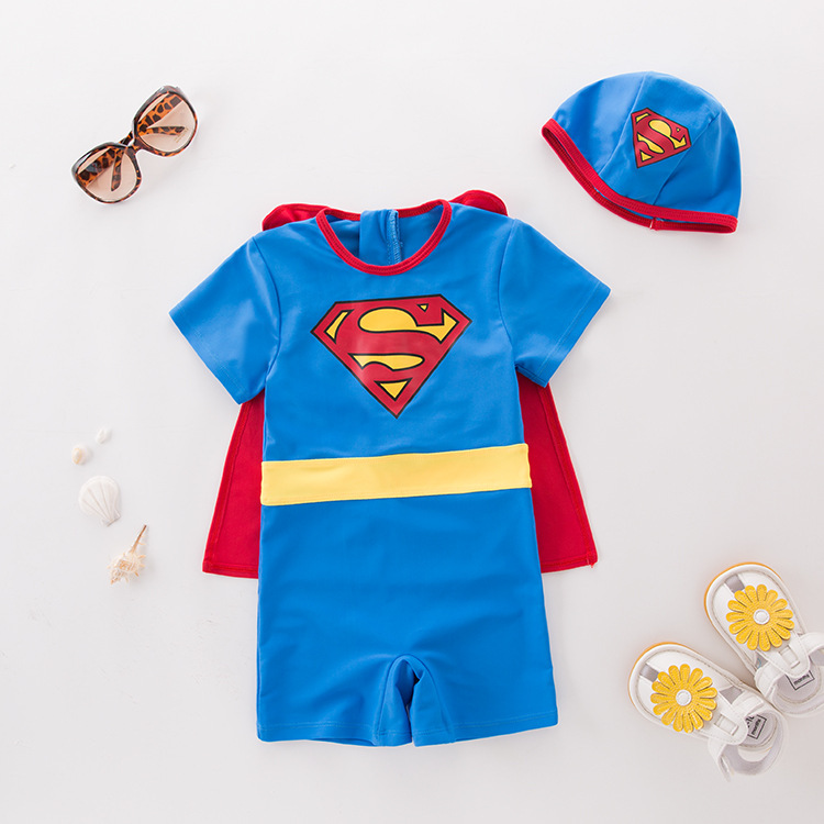 Men's One-piece Swimming Suit Blue Superman Hooded-KID'S Swimwear Hot Springs Clothing