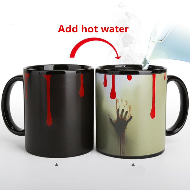 Ghost  Color Changing Mug Coffee Tea Cup Heating Sensitive Ceramic Magic Gift 1pc