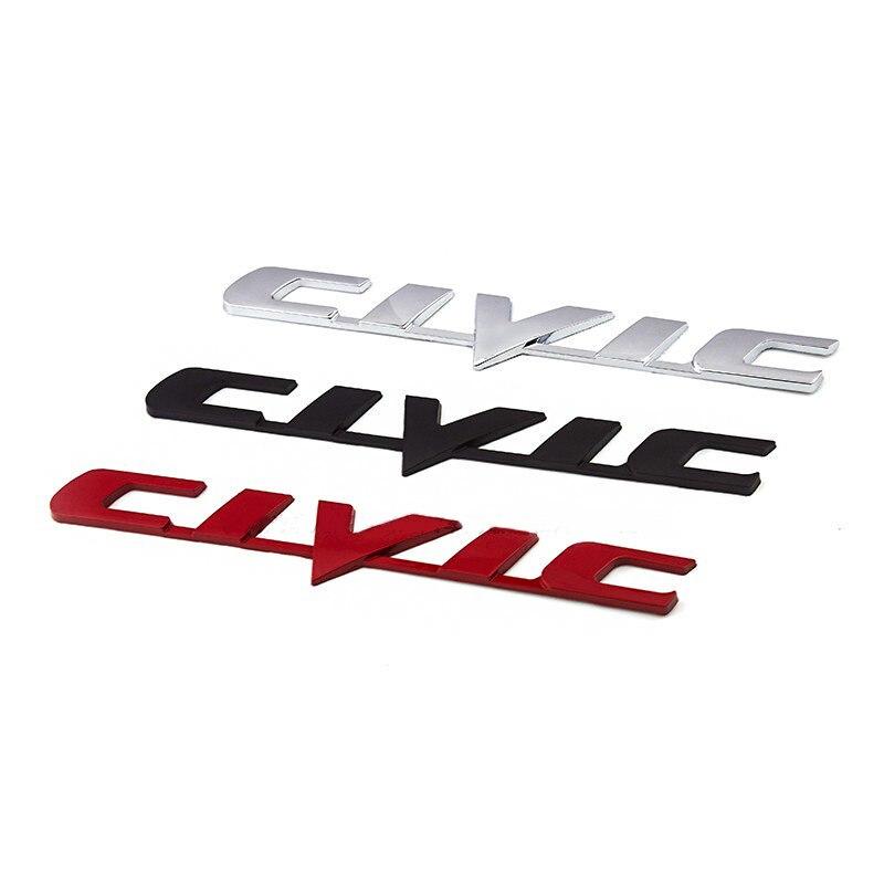 Voiture 3D métal emblème Badge autocollant pour Honda Civic voiture arrière queue coffre lettre Logo autocollants autocollants Auto accessoires voiture style
