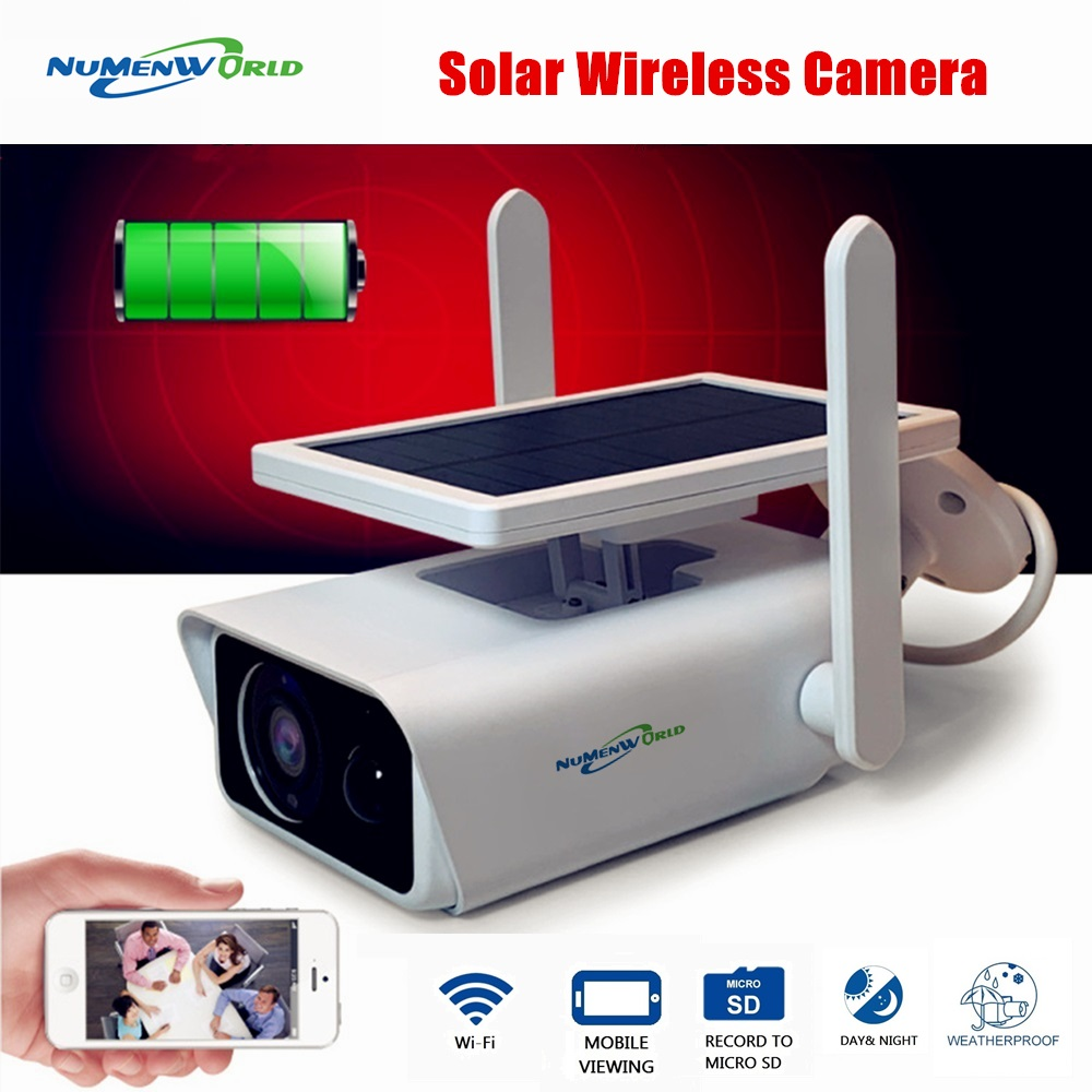Solar Powered Wireless IP Camera Outdoor 1080P Home Security Camera WiFi IP66 Waterproof   Two Way Audio Rechargeable Cam