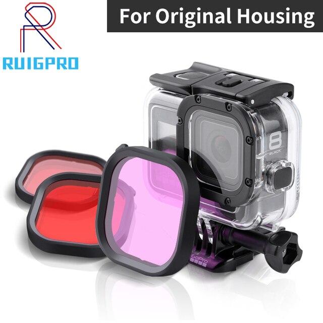 Kit de 3 filtros para cámara GoPro HERO 8, lentes de esnórquel de Color rojo y Magenta, accesorios de funda carcasa originales