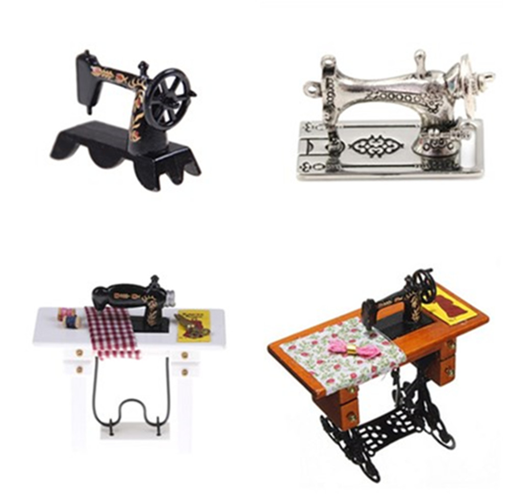Multi Styles Kids Dollhouse Decor Miniature Furniture Sewing Machine Thread Scissors Accessories For Dolls House Toys For Girls