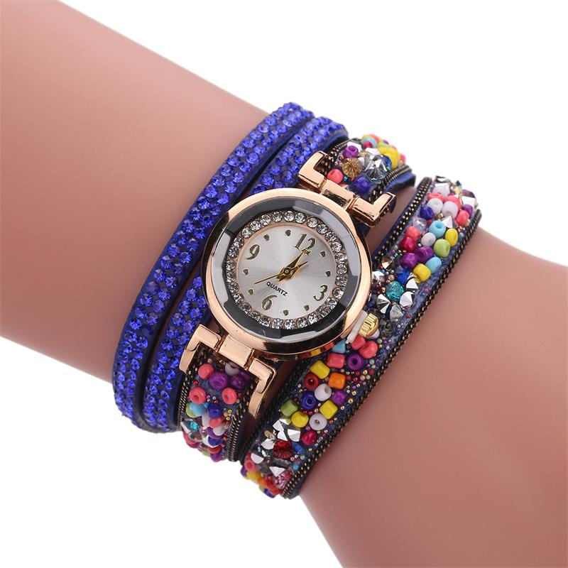 MINHIN Brand Gold Crystal Bracelet Watch Women Casual Leather Clock Beads Design Ladies Quartz Electronic Wristwatch Gift