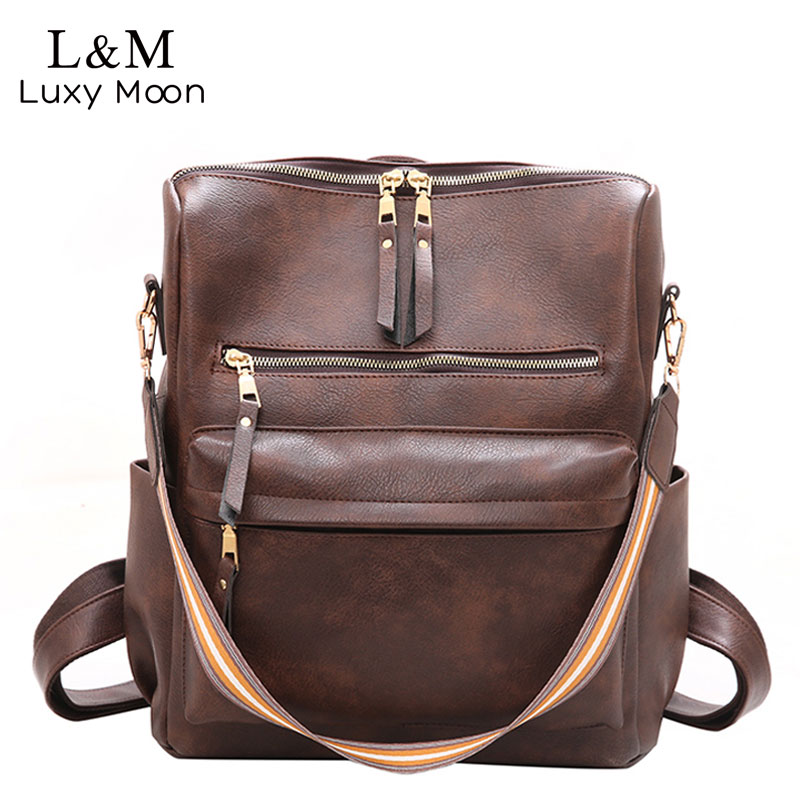 Women Backpack Large School Bags For Teenage Girls Shoulder Bag Vintage PU Leather Backpacks Multifunction Casual Rucksack XA88H
