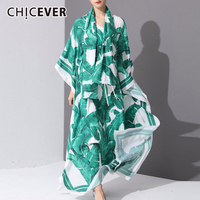 CHICEVER Print Hit Color Two Piece Set Women V Neck Three Quarter Sleeve Lace Up Bowknot Dress With Scarf Female Suit Fashion