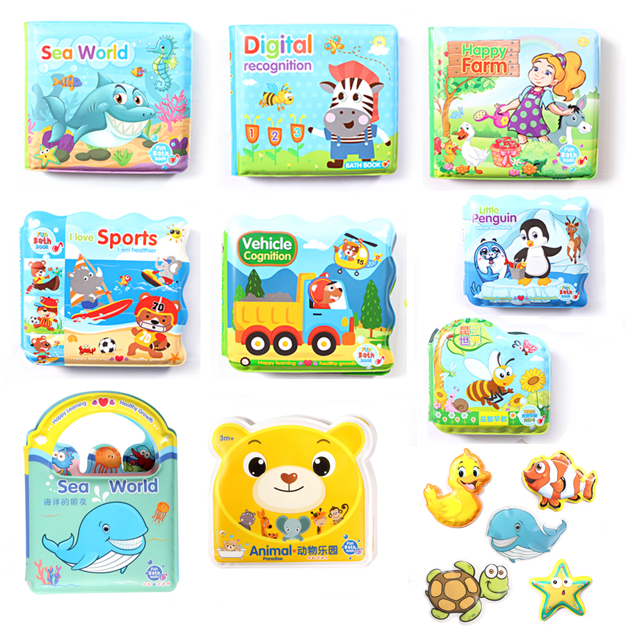 Baby Shower Bath English Cartoon Animal Bath Book With BB Whistle Early Educational Bathroom Toys,Baby's Cognitive Floating Toys