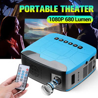 Мини проектор 680 люмен 1920x1080P LED Портативный HD проектор для домашнего кинотеатра Поддержка powerd от power bank
