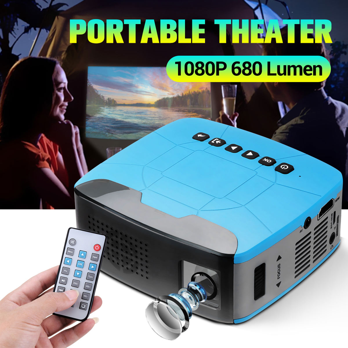 Mini projektor 680 lumenów 1920x1080P LED przenośny Beamer HD do kina domowego obsługuje powerd by power bank