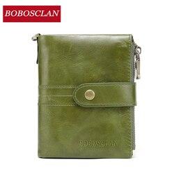 BOBOSCLAN, Cartera de moda para mujer, billetera de cuero genuino para mujer para dinero, cremallera, monedero para mujer, carteras de cuero de alta capacidad para mujer
