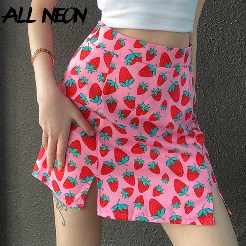 ALLNeon Sweet Strawberry Graphic Print Pink Mini SKirts E-girl Summer High Waist Slit Hem Short Skirt Kawaii Y2K Fashion Outfits