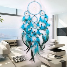 Feather Crafts Wind Chimes Blue Dream Catcher Handmade Dreamcatcher Net With Feather Beads for Wall Hanging Car Home Decor|Wind Chimes & Hanging Decorations| |  - AliExpress