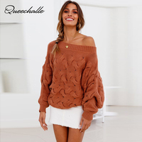Autumn Winter Slash neck Women's Sweater Knitted Twisted Thick Warm Lady's Pullover Women Batwing Sleeve Jumper Tops Brown Gray