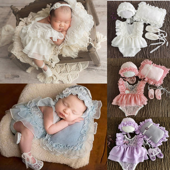 5Pcs Newborn Baby Photography Props Baby Outfits Baby Romper Jumpsuit Infant Shoes Cotton Baby Hat Set Baby Photo Shoot Costume football baby hat and shorts suit hot sale baby handmade cotton costume newborns photography props infant outfits