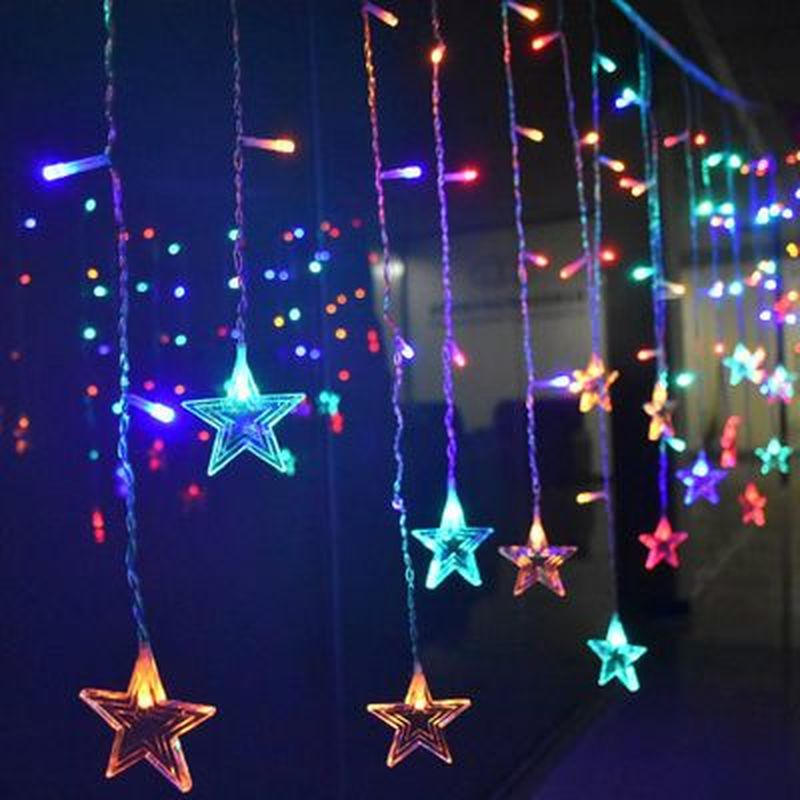 Christmas Lights LED Garland Window String Lights Star Moon Snow Fairy Lights For Street Garland New Year Christmas Decoration