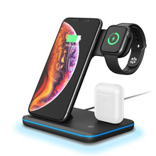 LEORY  3 in 1 Breathing Light Fast 15W Qi Wireless Charger Dock for universal Mobile Phone Wireless Charger