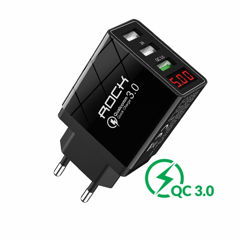 ROCK USB Charger QC 3.0 30W LED Display Quick Charge Phone EU Wall Adapter Turbo Fast Charging For iPhone 11xr  Xiaomi Samsung|Mobile Phone Chargers| |  - title=