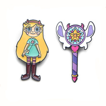 Star butterfly Magic Stick Wand cute Zinc alloy pins badges para shirt bag clothes cap backpack shoes brooches for women E0355