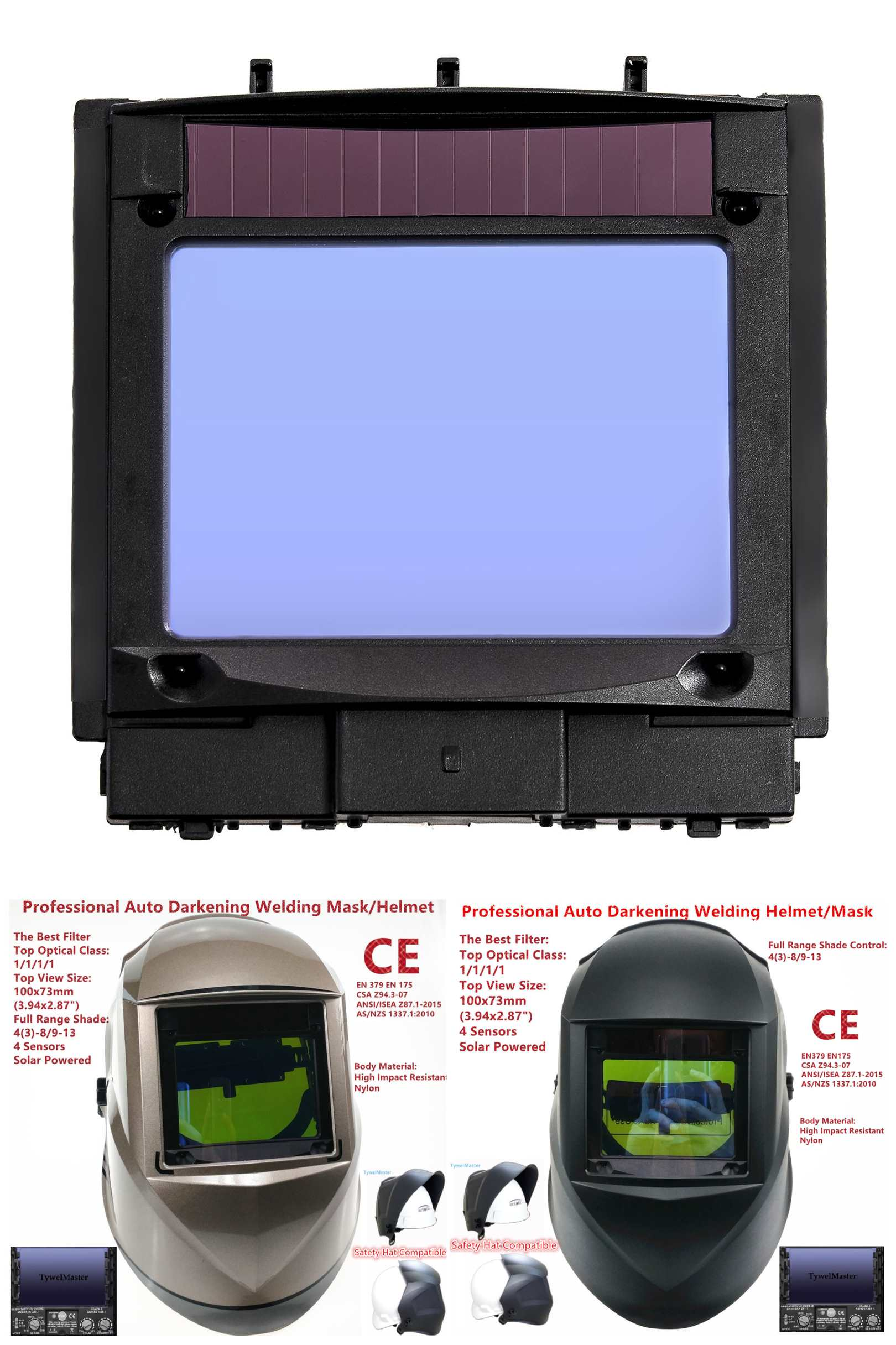Filtr spawalniczy zobacz rozmiar 100x73mm (3.94x2.87in.) Solar 4 czujniki automatyczne przyciemnianie najlepsza klasa optyczna 1111 Full Range Shade 4 (3)-13