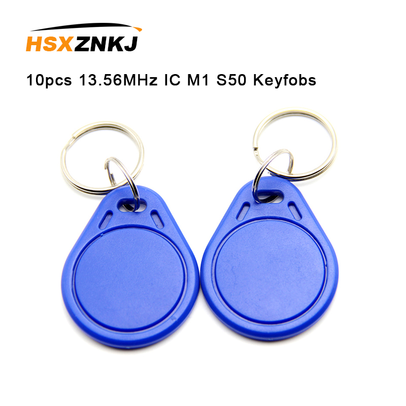 10pcs 13.56MHz IC M1 S50 Keyfobs Tags Access Control RFID Key Finder Card Token Attendance Management Keychain Not Rewriteable
