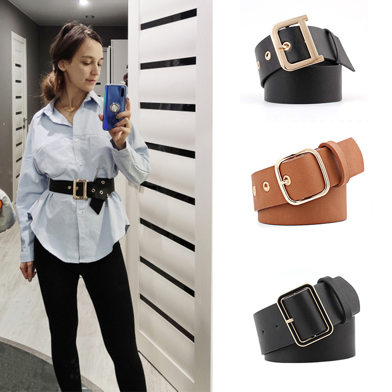 Luxury Belt With Metal Buckle Black Wide Leather Women Waist Belts White Brown Ladies Dress Corset Belts Cinturones Para Mujer