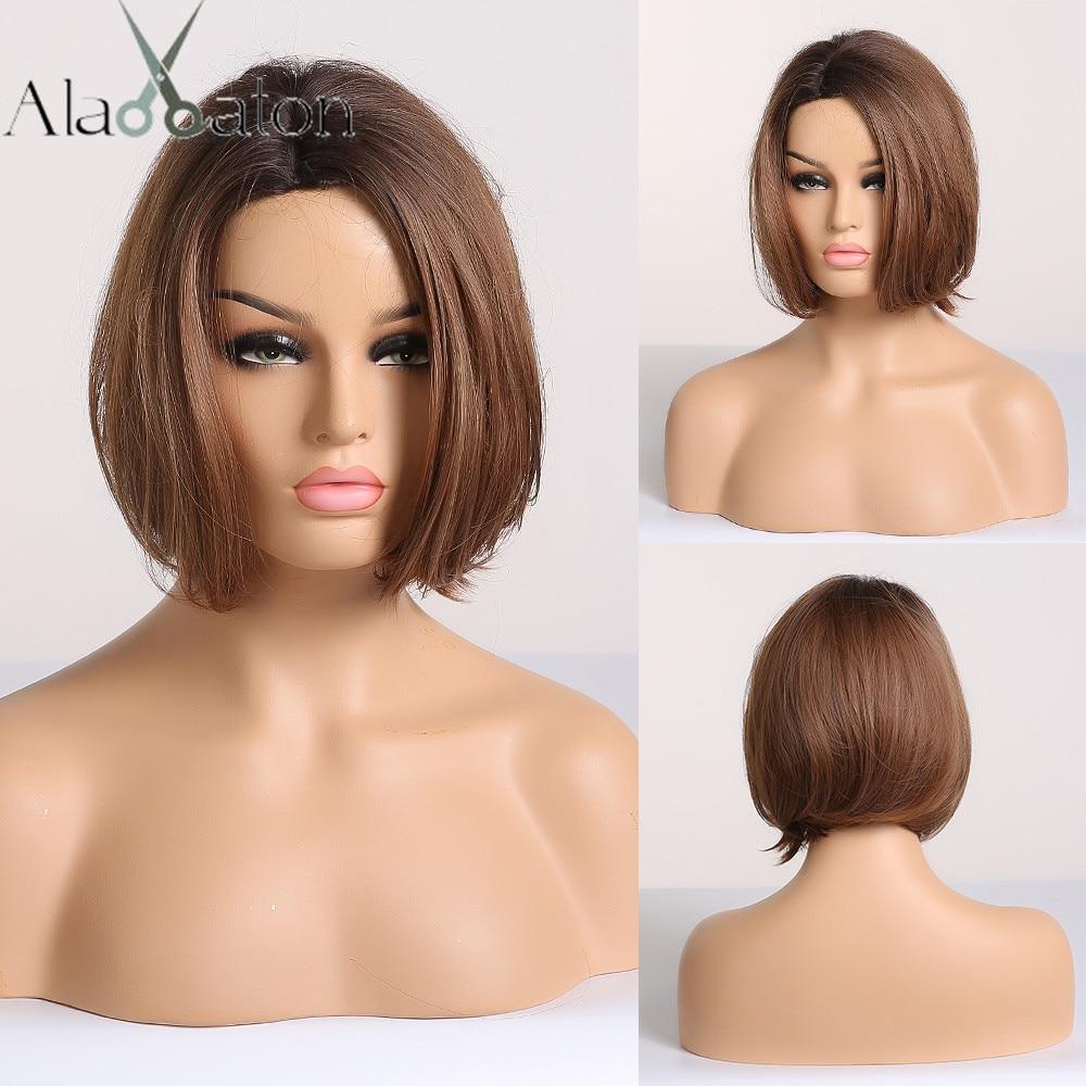 ALAN EATON Short Straight Ombre Black Brown Honey Bob Wigs For Black Women Afro Side Part Heat Resistant Cosplay Bobo Wigs