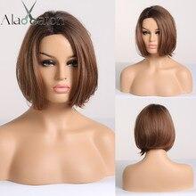 Короткие прямые парики ALAN EATON, черные, коричневые парики с медовым Бобом для чернокожих женщин, термостойкие парики для косплея в стиле бохо, афро