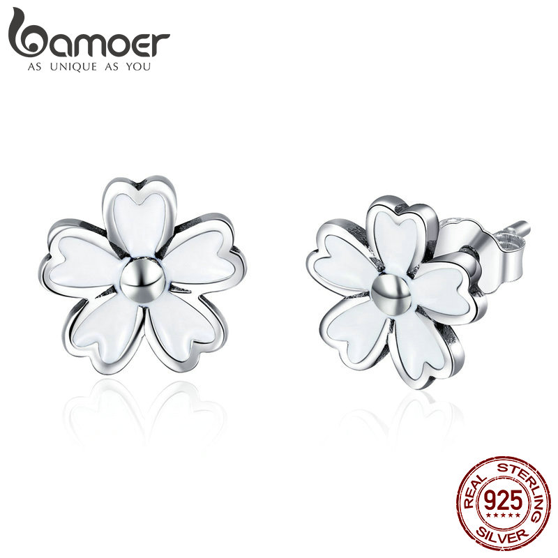 BAMOER New Collection 925 Sterling Silver White Enamel Daisy Flower Stud Earrings For Women 2018 Earrings Silver Jewelry SCE418