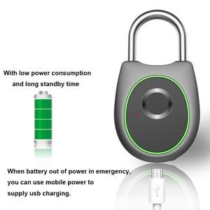 Image 3 - Taşınabilir akıllı parmak izi kilidi elektrikli biyometrik kapı kilidi USB şarj edilebilir IP65 su geçirmez ev kapı çanta valiz kilidi
