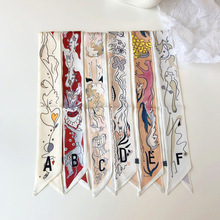 Japanese scarf Euro 26-letter printed smalllong twill silk for girls fashion bag ribbons hair bands neckerchief vintage