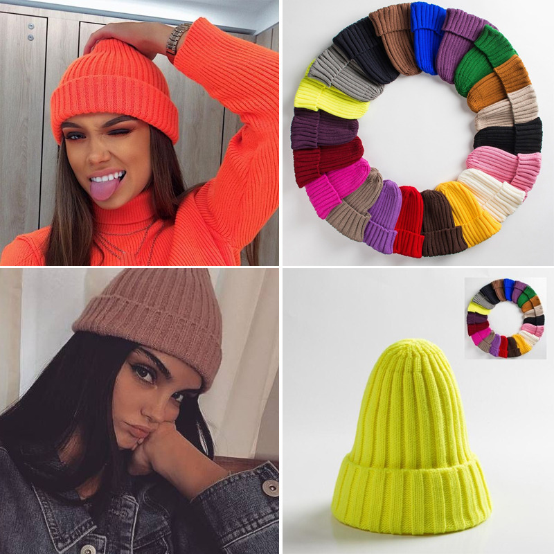 Skullies Beanies Knitted-Hats Winter Caps Unisex Hat Hip-Hop Warm Soft Girl Wholesale