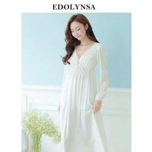 Image 1 - Automne Vintage chemises de nuit col en v dames robes princesse blanc vêtements de nuit sexy solide dentelle robe de maison confortable chemise de nuit # H13