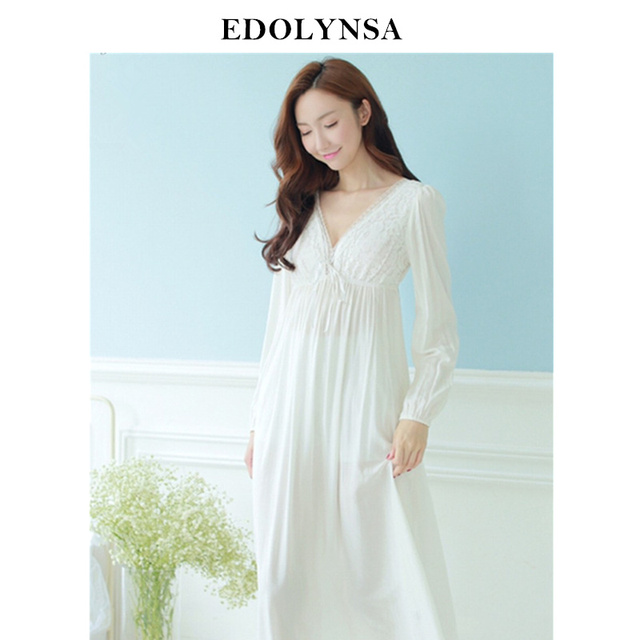 Autumn Vintage Nightgowns V neck Ladies Dresses Princess White Sexy Sleepwear Solid Lace Home Dress Comfortable Nightdress #H13