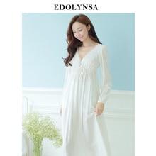 가을 빈티지 나이트 가운 v 목 숙녀 드레스 공주 흰색 섹시한 잠옷 솔리드 레이스 홈 드레스 편안한 nightdress # h13