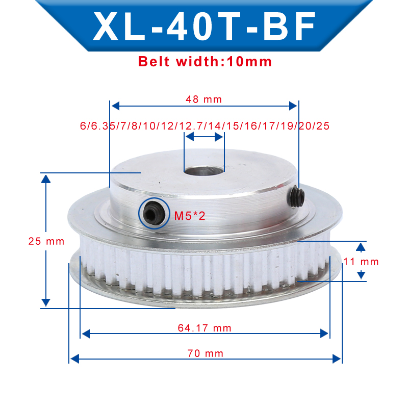 XL 40T Timing Pulley Bore size 6-25 mm Teeth Pitch 5.08 mm Aluminum Pulley Wheel Teeth Width 11 mm For 10mm XL Timing Belt