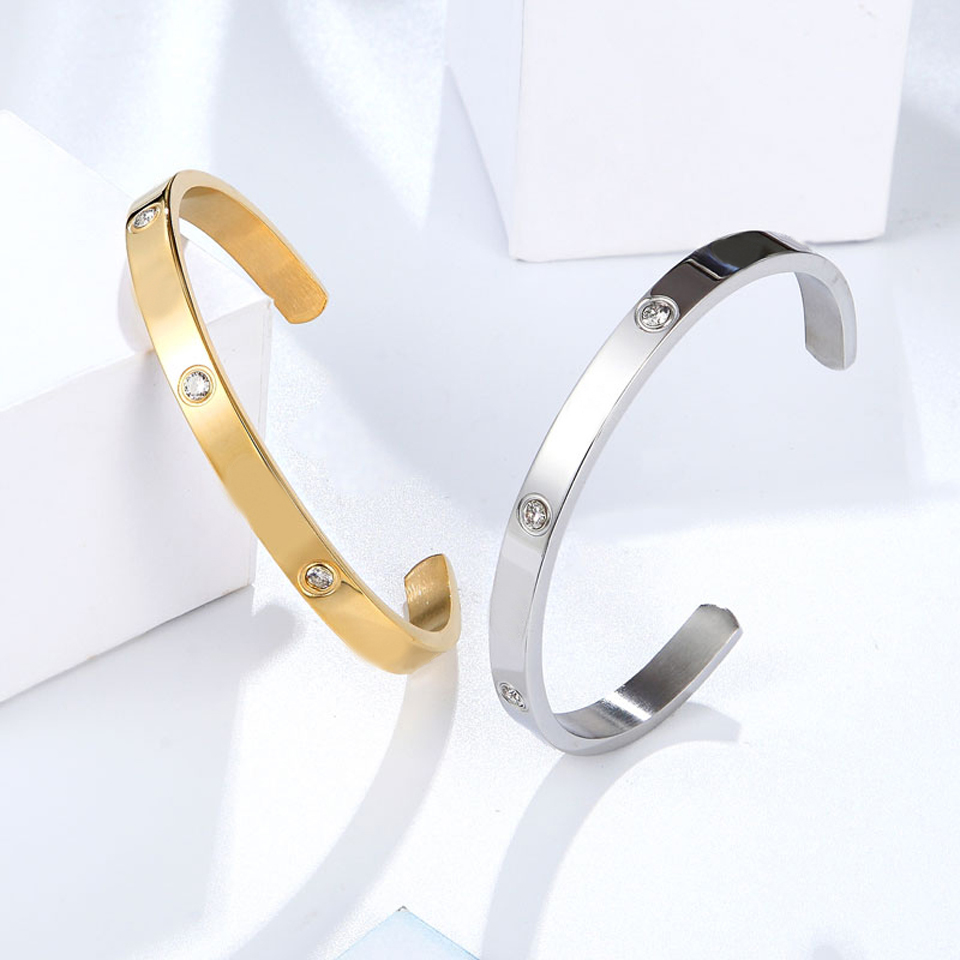 Fashion Classic Crystal Cuff Bracelet for Women/Men Gold Color Stainless Steel Bracelets & Bangles Couple Love Jewelry Best Gift 4