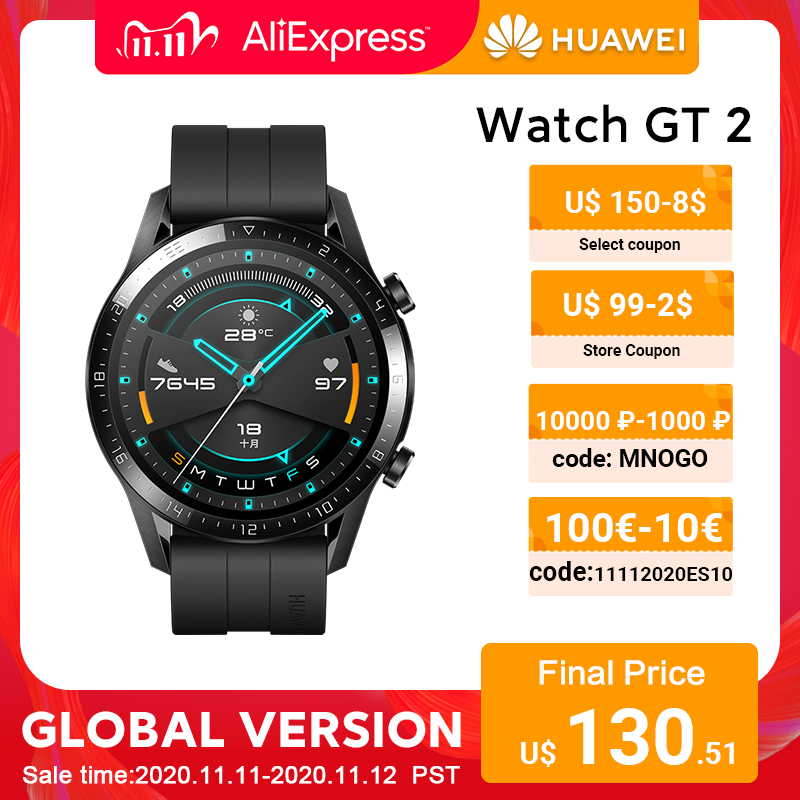 In stock Global Version HUAWEI Watch GT 2 GT2 Smart Watch Blood Oxygen SmartWatch 14 Days Phone Call Heart Rate Tracker