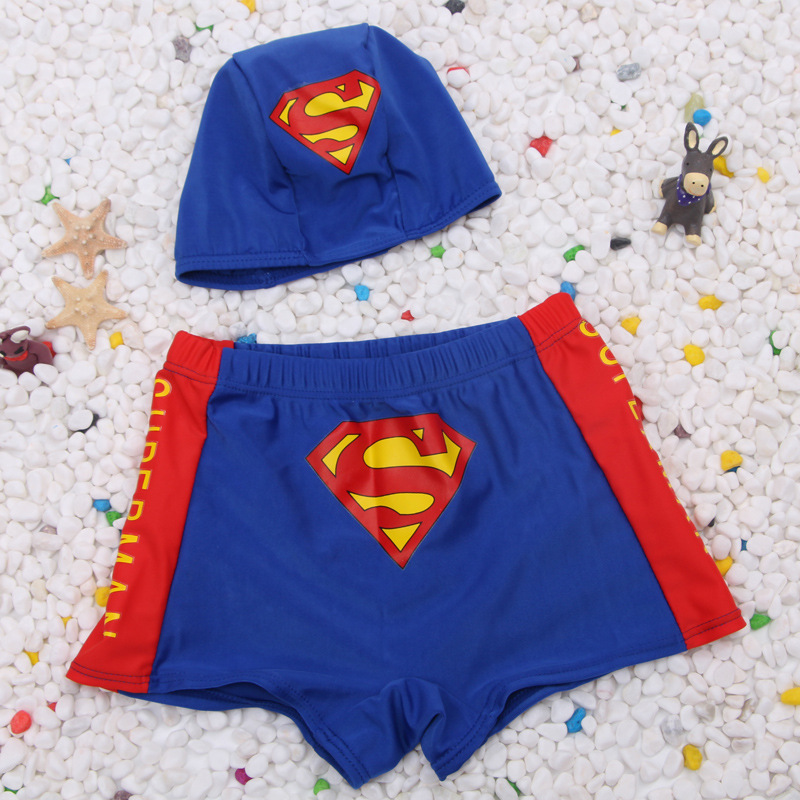 New Style Cute Superman Children Swimming Suit BOY'S Korean-style Cartoon Swimming Trunks With Swim Cap Baby Boy Large Size Swim