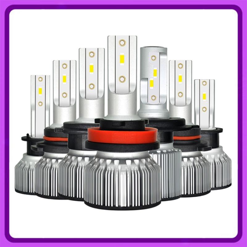 2 шт., Автомобильные светодиодные лампы H7 H4 6500K 9005 лм H7 H4 H11 H1 9006 HB3 9012 HB4 H8 9003 HB2 100