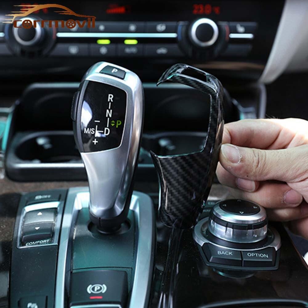 Автомобильный рычаг переключения скоростей декоративное покрытие из углеродистого волокна от Шестерни рукоятка переключения рукавами и п...