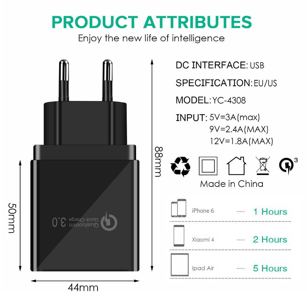 3.1A արագ լիցքավորիչ QC3.0 48W / 18W USB հոսանքի - Բջջային հեռախոսի պարագաներ և պահեստամասեր - Լուսանկար 4