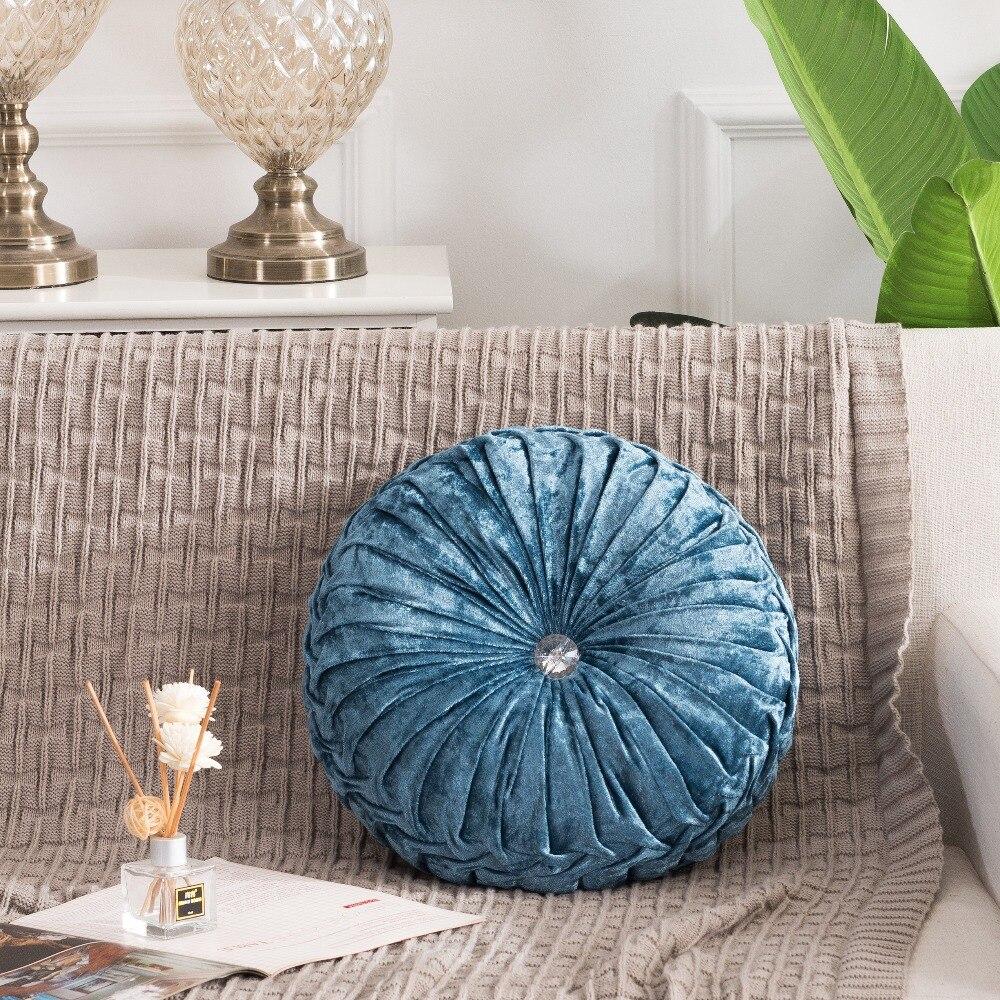 H4dd66f8d07fd4b54a04fdde9272ee04fs European Pastoral Style Pumpkin Round Seat Cushion/Back Cushion or as Sofa pillow Velvet Fabric 35x35cm 9 Colors
