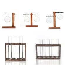 Glass Test Tube Hydroponic Vase Elegant Table For Water Setting Flowers Wooden Frame Home Decoration