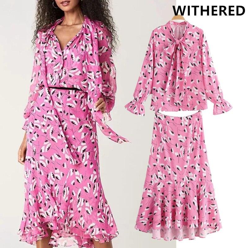 Withered england vintage floral printing blusas mujer de moda 2019 blouse women skirt women faldas mujer moda 2019 2 pieces set