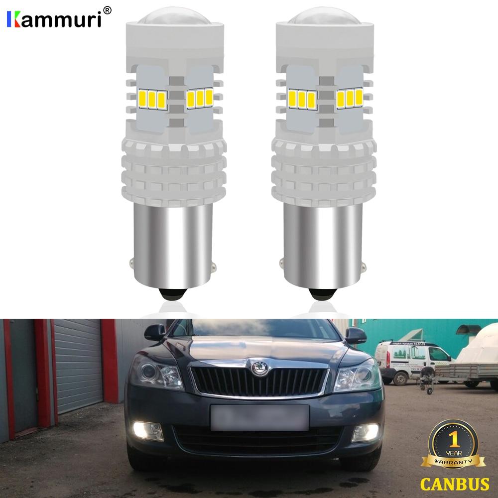 KAMMURI White Canbus P21W LED Bulb For Skoda Superb Octavia 2 MK2 FL 1Z A5 2009 2010 2011 2012 2013 LED DRL Reverse Lights Lamps
