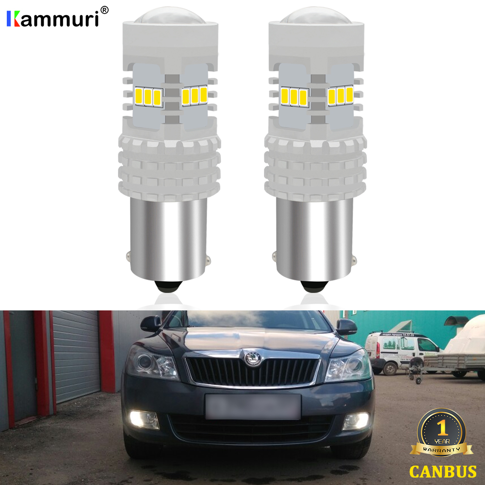 KAMMURI blanco Canbus P21W bombilla LED para Skoda Superb Octavia 2 MK2 FL 1Z A5 2009, 2010, 2011, 2012, 2013 LED reverso DRL luces lámparas ELM327 ELM 327 V1.5 de plástico OBDII EOBD CANBUS escáner sin FT232RL Chip