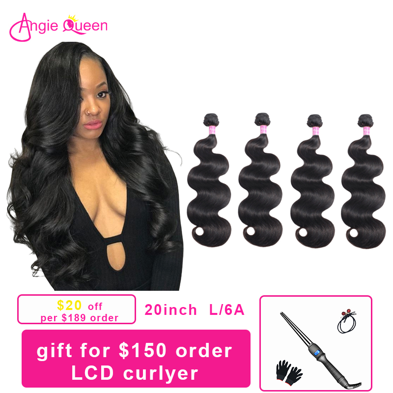 Angie Queen 4 Pcs Body Wave 8'-26' Indian Hair Weaves Remy Hair 100% Human Hair Bundles Remy Hair Extension Natural Color L